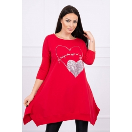 Obleka s potiskom Heart 0072, rdeča