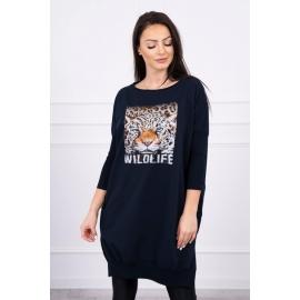 Obleka s potiskom tigra 0076, temno modra
