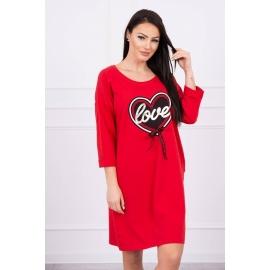 Obleka s potiskom in mašnico 0083, rdeča