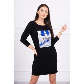 Obleka s 3D potiskom 66820, črna
