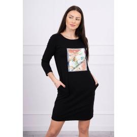 Obleka s 3D potiskom Bird 66813, črna