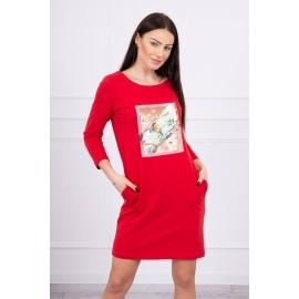 Obleka s 3D potiskom Bird 66813, rdeča