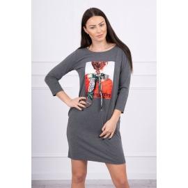 Obleka s potiskom in mašnico 66814, temno siva
