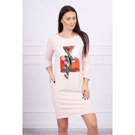 Obleka s potiskom in mašnico 66814, puder roza