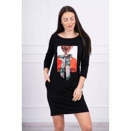 Obleka s potiskom in mašnico 66814, črna
