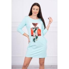 Obleka s potiskom in mašnico 66814, mint