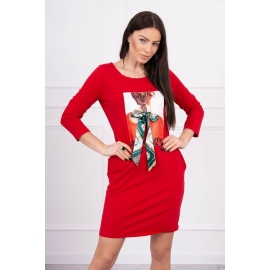 Obleka s potiskom in mašnico 66814, rdeča