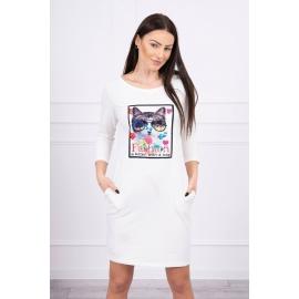 Obleka s 3D grafiko Cat 66815, ekru