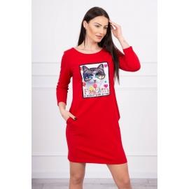 Obleka s 3D grafiko Cat 66815, rdeča