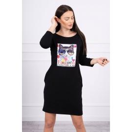 Obleka s 3D grafiko Cat 66815, črna