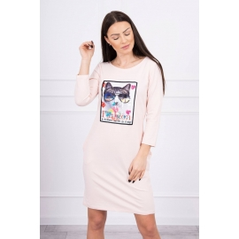 Obleka s 3D grafiko Cat 66815, puder roza