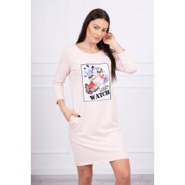 Obleka s 3D grafiko Watch 66822, puder roza