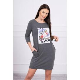 Obleka s 3D grafiko Watch 66822, temno siva