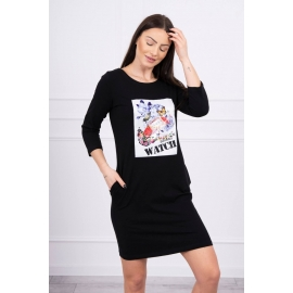 Obleka s 3D grafiko Watch 66822, črna