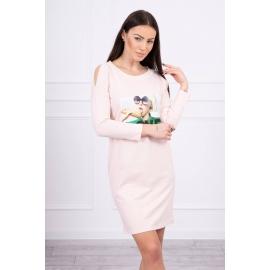 Obleka s potiskom Love 66857, puder roza