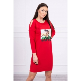 Obleka s potiskom Love 66857, rdeča