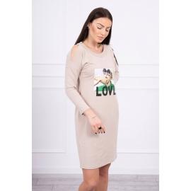 Obleka s potiskom Love 66857, bež
