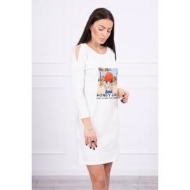 Obleka s potiskom Honey girl 66859, ekru