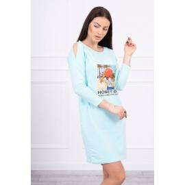 Obleka s potiskom Honey girl 66859, mint