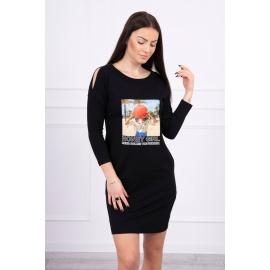 Obleka s potiskom Honey girl 66859, črna
