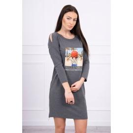 Obleka s potiskom Honey girl 66859, temno siva