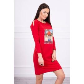 Obleka s potiskom Honey girl 66859, rdeča