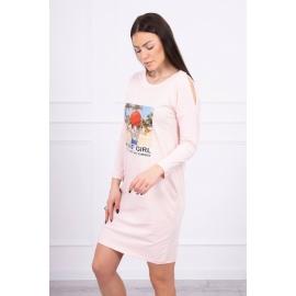 Obleka s potiskom Honey girl 66859, puder roza