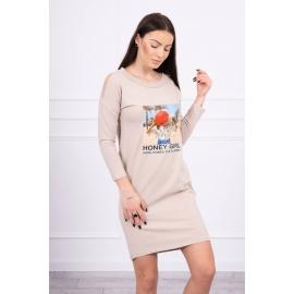 Obleka s potiskom Honey girl 66859, bež