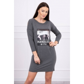 Obleka s potiskom Handle with 66856, temno siva