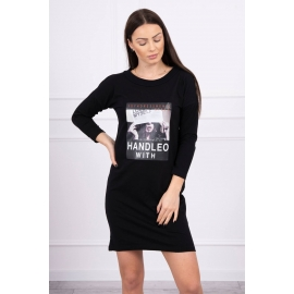 Obleka s potiskom Handle with 66856, črna
