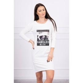 Obleka s potiskom Handle with 66856, ekru