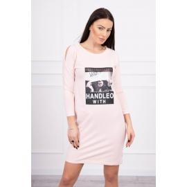 Obleka s potiskom Handle with 66856, puder roza