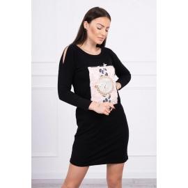 Obleka s 3D grafiko Pearls 66816, črna