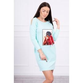 Obleka s potiskom in pikčasto mašnico 66817, mint
