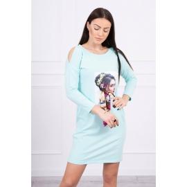 Obleka s potiskom in barvasto mašnico 66826, mint