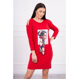 Obleka s potiskom in barvasto mašnico 66826, rdeča