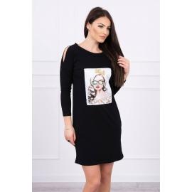 Obleka s 3D grafiko The girl in glasses 66827, črna