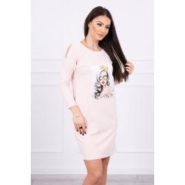 Obleka s 3D grafiko The girl in glasses 66827, puder roza