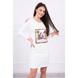 Obleka s potiskom in 3D rožico 66828, ekru