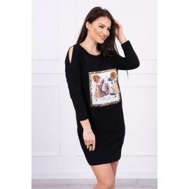 Obleka s potiskom in 3D rožico 66828, črna