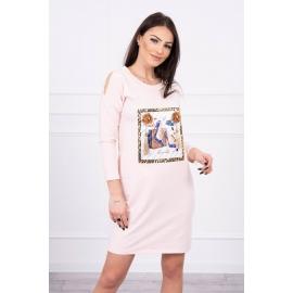 Obleka s potiskom in 3D rožico 66828, puder roza