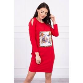 Obleka s potiskom in 3D rožico 66828, rdeča