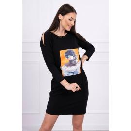 Obleka s 3D grafiko Lace 66829, črna