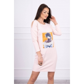 Obleka s 3D grafiko Lace 66829, puder roza