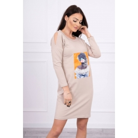 Obleka s 3D grafiko Lace 66829, bež