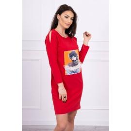 Obleka s 3D grafiko Lace 66829, rdeča