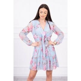 Cvetlična obleka z okrasnim lokom 9021, svetlo modra