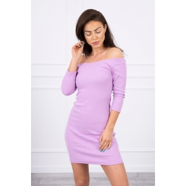 Rebrasta obleka z golimi rameni 8974, vijolična