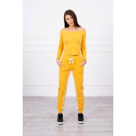 Ženski komplet z dvojno črto 8958, gorčično rumen/bel