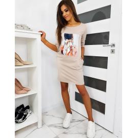 Obleka s printom NOEMI EY1121, bež